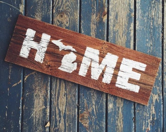 Rustic Authentic Barn Wood Michigan Home Sign Wall Hanging Sign