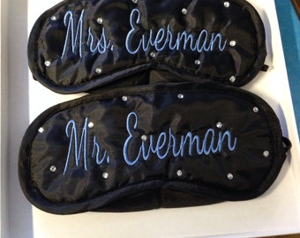 His and Hers personalized sleep/spa masks.  GIFT WRAPPED set