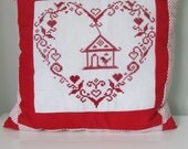 VALENTINES SALE , Red Patchwork Pillow Cover ,  Cross Stitch Pillow , Decorative throw pillows , Heart Pillow , Gift for her