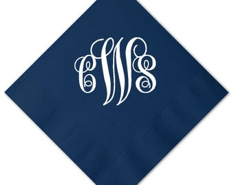 100 Personalized Napkins Personalized Napkins Wedding Napkins Custom Large Monogram