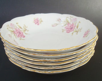 "Six Soup Bowls ""Shelby"" Pattern by Edelstein Bavaria. Pink Floral."