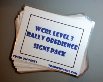 Full Sized WRCL Rally Level 3 Signs with exercise descriptions on back - 21 signs