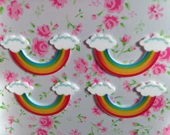 Cute Rainbow Flatbacks 56mm x 30mm - 4pcs