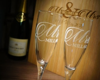 Wedding Gift Set Mr & Mrs Champagne Flutes with personalised wooden wine box.