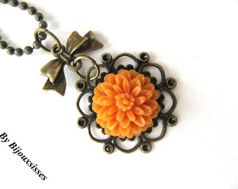 Filigree and more... VN171- flower necklace - pendant necklace - charm necklace - gift under 15