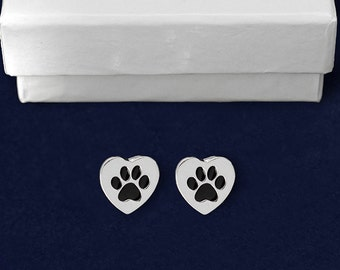 Heart Shaped Paw Print Earrings (RETAIL) (RE-PPE-17)