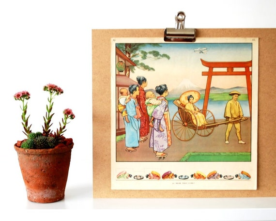Japanese Classroom Decor : Old school poster s vintage classroom by
