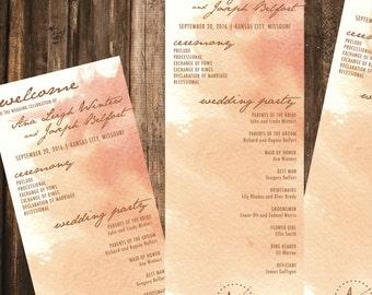Copper Watercolor Wedding Program // 4x11 DIY Printable // Wedding Program, Day of Wedding, Wedding Stationery, Artsy Wedding
