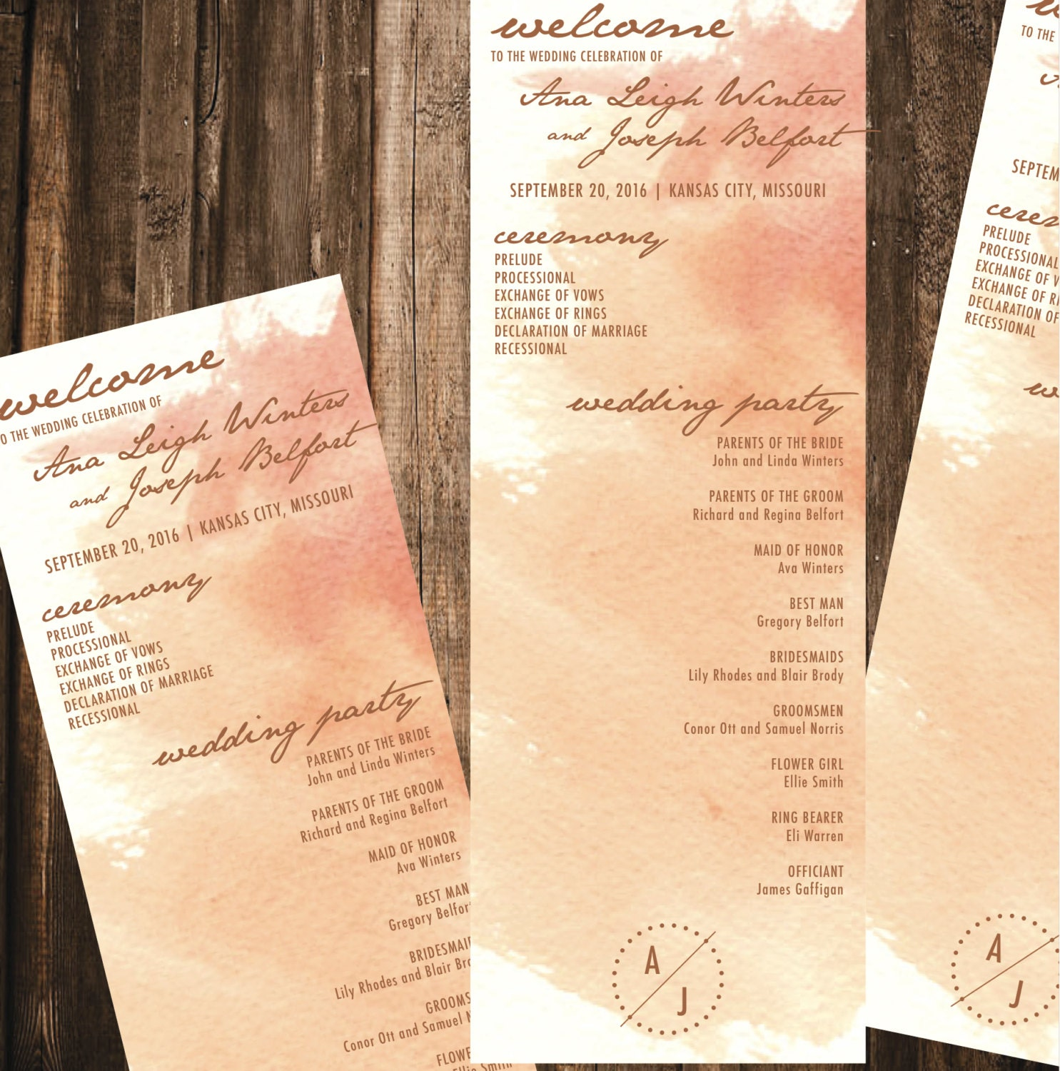 copper watercolor wedding program 4x11 diy printable wedding