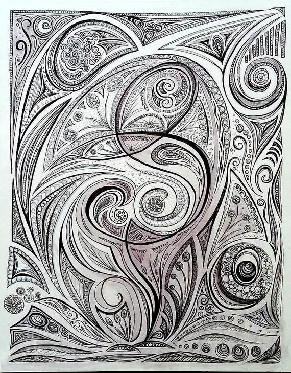 Digital Line Art : Organic line drawing digital print