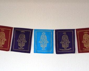 Jewish Blessing Flags – Fair Trade Hamsa Wall Hanging – Tibetan Style Jewish Prayer Banner for Meditation or Decoration