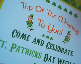 St. Patricks Day - Irish - Leprechaun - Shamrock - Pre-Filled Invitation - Non.Personalised - Instant Download - Digital