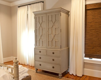 Custom Pleated drapery Panels includes Oyster Linen Fabric
