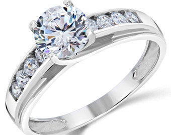 14K Solid White Gold Round Cut CZ Cubic Zirconia Solitaire Engagement Ring