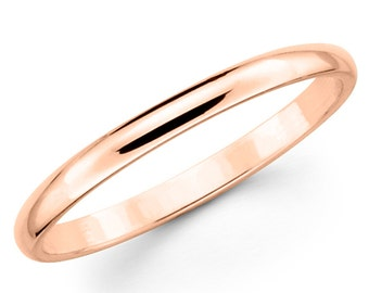 14K Solid Rose Gold 2mm Plain Wedding Band Ring
