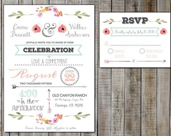 Personalized Printable Wedding Invitations with RSVP