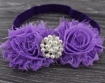 Purple Shabby Chic Headband With A Pearl Embellishment .. Comes in Other Colors!!!