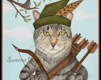 Robin Hood Kitty, with his bow and arrows, A whimsical kitty card or print portrait - Cats, Watercolor, Item #0306a