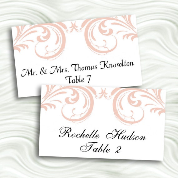 blush pink swirl printable flat escort cards place cards by idodiy