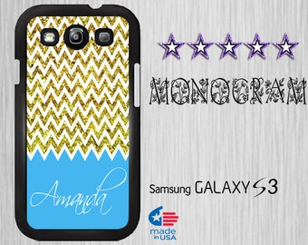 Monogram Galaxy s3 Samsung Galaxy S3 Cover Monogram Custom Galaxy S3 case Personalized Monogram Cover  Sparkle Chevron (Not Real glitter)