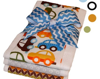 Ready, Set, Go - Retro Cars Organic Cotton Burp Cloth Set - Baby Shower Gift