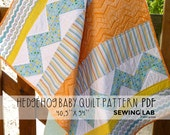 Baby quilt pattern PDF INSTANT DOWNLOAD/ It includes a fabric Hedgehog toy pattern! Step by step instructions.