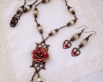 Golden Romance polymer Rose Necklace and Earring set