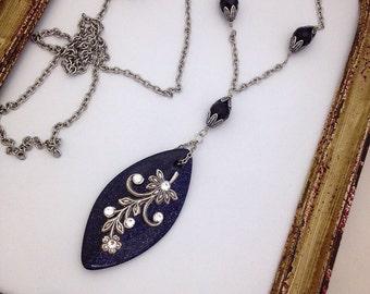 Midnight Bloom Blue Goldstone Necklace
