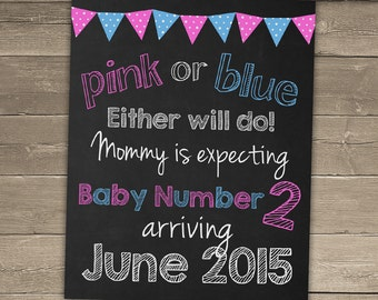 Pink or Blue Either Will Do Pregnancy Announcement Sign, Chalkboard Pregnancy Reveal, Chalkboard Pregnancy Announcement,Pregnancy Chalkboard