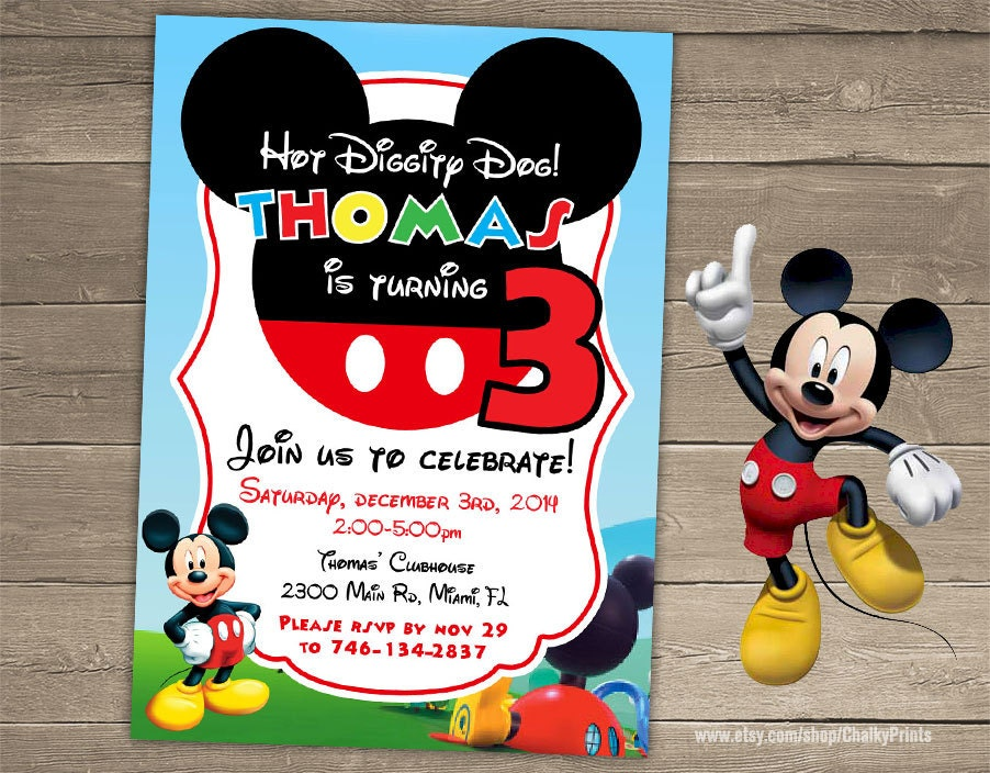Mickey Mouse Invitation Mickey Mouse Birthday Party Third
