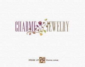 Logo Design - Business  Logo -  Jewelry logo  elegant flower - Premade Logo  -  Banner Logo and Watermark - Jewelry n. 12  Design   -