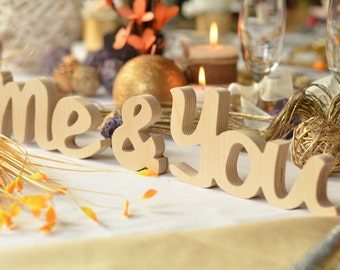 You & Me, me and you, wedding table decor, wedding sign GIFT for wedding wood  letters white or any color GIFT Wood Signs Vintage