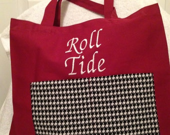 Alabama Roll Tide Tote Bag Houndstooth