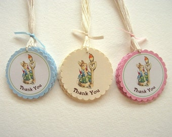 Peter Rabbit, Thank You Tags, Baby Shower, Birthday Party, First Birthday, Size: 2 inches, Set of 6 or 12