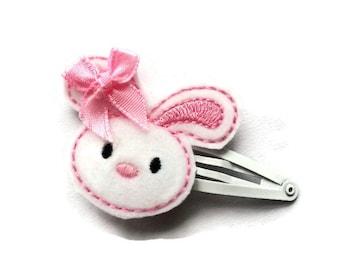 White Bunny Hair Clip for Girls - Easter Bunny Snap Clip Barrette - Easter Clip for Toddler - Girls Barrette for Easter - Bunny Rabbit Clip