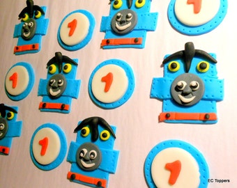 12 Thomas Train Fondant Cupcake Toppers