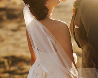 Veil, Satin Edge Veil, Waist Elbow Veil,Silk Edge Veil, Beach Wedding Veil, Short Bridal Veil, Ribbon Edge Veil - SUZETTE Veil