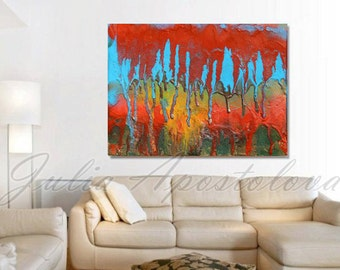 Abstract Red Painting, Colorful Art, Abstract Print, Autumn Painting, Landscape, Blue, Gold, Modern, Red Home Decor, ''The Tears of Autumn''