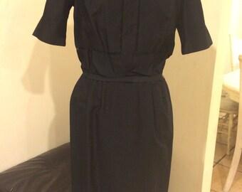 Vintage 1970's Black Cotton Wiggle  Day Dress Union Brand