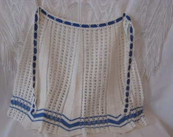 Cute Vintage Blue and White Crochet apron