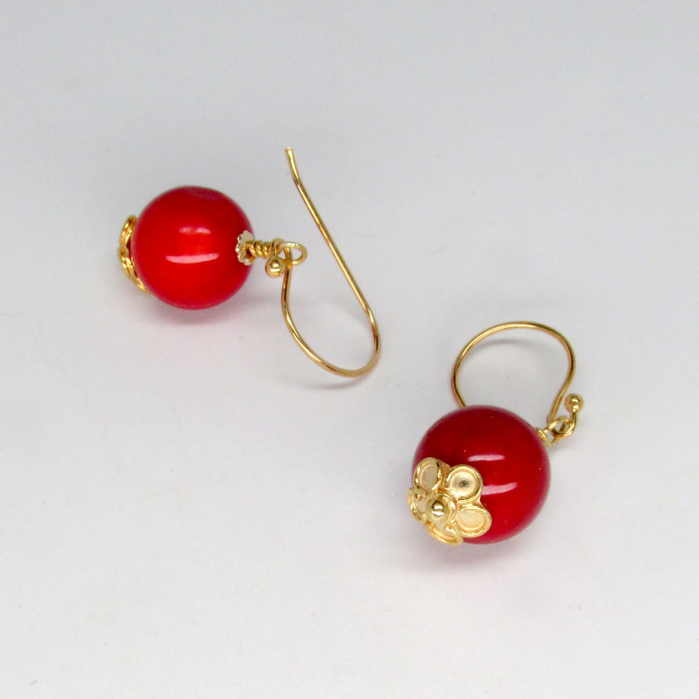 coral flower earrings in 24k gold vermeil by