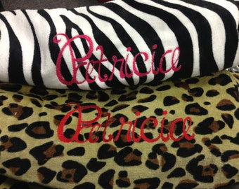 Leopoard or Zebra personalized beach towel