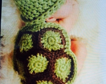 Turtle newborn photography prop crochet