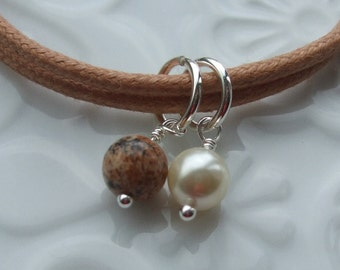 Picture Jasper and Swarovski Pearl Sterling Silver Friendship Bracelet