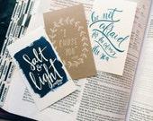 Mini Scripture cards, stocking stuffer, set of 9, encouragement cards, bible verse art, pass it on