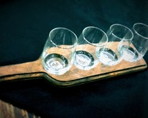 Wood Wine Flights with Taster Glasses_shape of a wine bottle, GLASSES are available