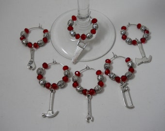 """6 """"Tool"""" Themed Charms,Wine Glass Charms, Beaded Wine Charms,Wine Accessories,Wine Glass Ring,Charm Ring,Wine Glass Hoop,6 Wine Charms,Tools"""