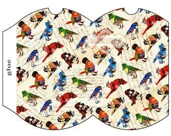 FANNY BIRDs - Printable Pillow Box - Digital Image Sheet Download Box - Print and Cut