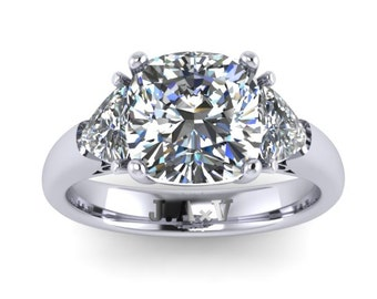 Cushion Cut Moissanite Three-Stone Engagement Ring 14K White Gold Forever Brilliant Moissanite Center and Two Trillion Side-Stones - V1107