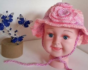 Baby Crochet Hat with ties ~ 3-6 months ~ Triple Crochet Flowers Trim